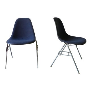 Mid-Century Eames Herman Miller Upholstered Shell Chair - A Pair
