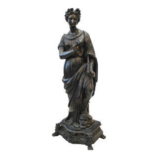 19th-C.French White Metal /Bronze Muse Melpomene Sculpture For Sale