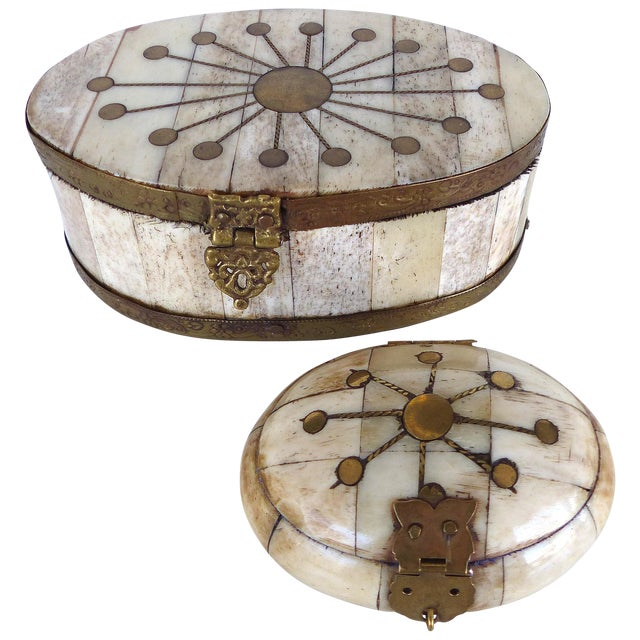 Oval Bone & Brass Trinket Boxes - A Pair - Image 1 of 11