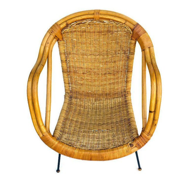 1960s Mid Century Rattan & Sculpted Bamboo Hoop Chair Cast Iron Legs For Sale - Image 5 of 11