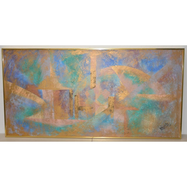 Gold Lee Reynolds Vanguard Studios Mid Century Abstract Oil Painting C.1960s For Sale - Image 8 of 8