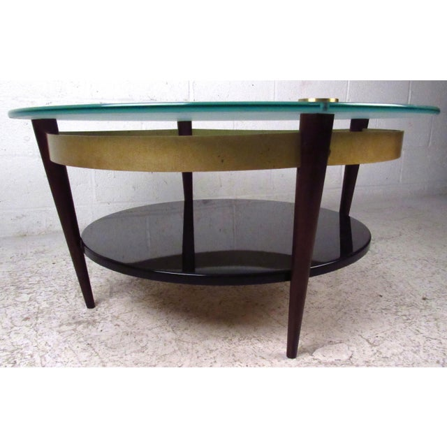 Mid-Century Floating-Top Glass & Brass Coffee Table - Image 5 of 9