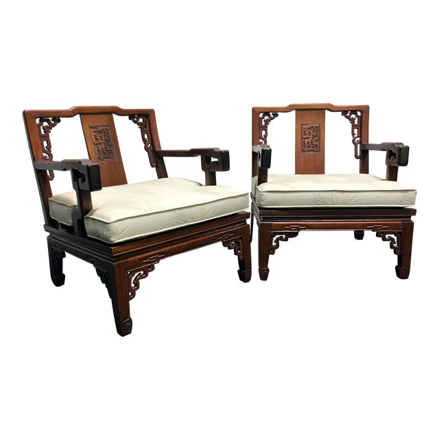 Asian Korean Carved Mahogany Lounge Chairs - Pair For Sale
