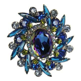 D&e Juliana Delizza Elster Verified Blue Heliotrope Rhinestone Brooch For Sale