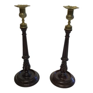 George III Tall Mahogany and Brass Candlesticks - a Pair For Sale