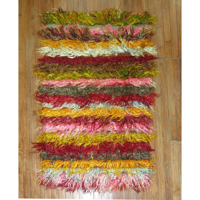 One of a kind Tulu Mohair Wool Shag Rug 3' x 4'8''