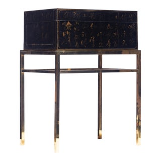 Lawrence & Scott Hand-Painted Inscription Black Leather Box on Patinated Brass Stand as Side Table For Sale