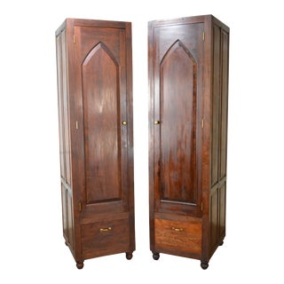 Gothic Style Pair of Tall Solid Cherry Wood Custom Crafted Cabinets Armoires