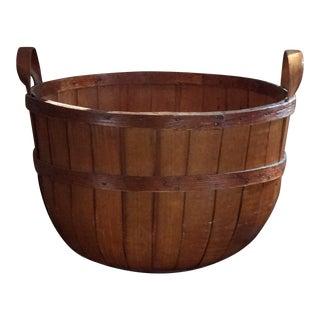 1950s Vintage Wooden Apple Basket For Sale