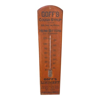 "19thc ""Goff's Cough Syrup "" Original Salmon & Black Painted Thermometer For Sale"