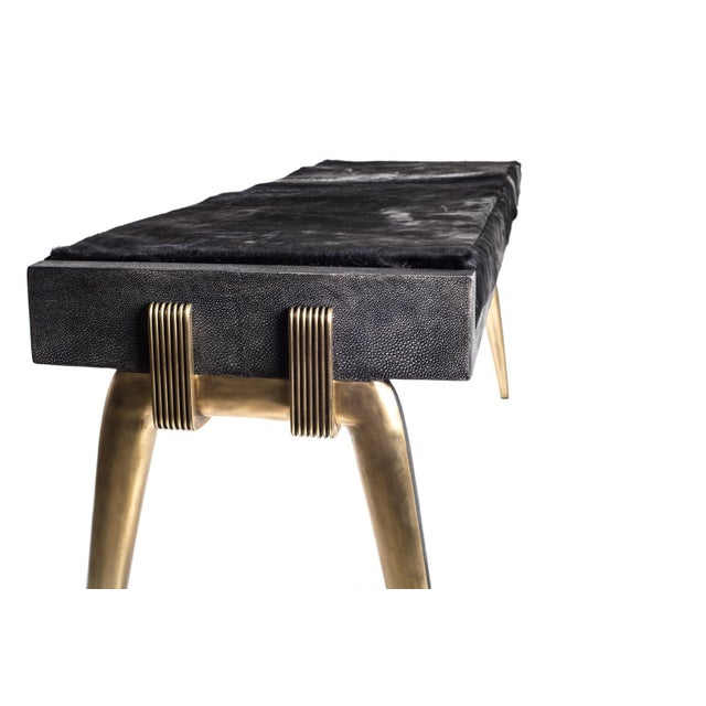 Art Deco Pianist Bench in Coal Black Shagreen and Bronze-Patina Brass by R&y Augousti For Sale - Image 3 of 8