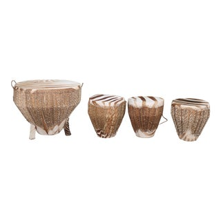 Vintage Zebra Drum Stools - Set of 4 For Sale