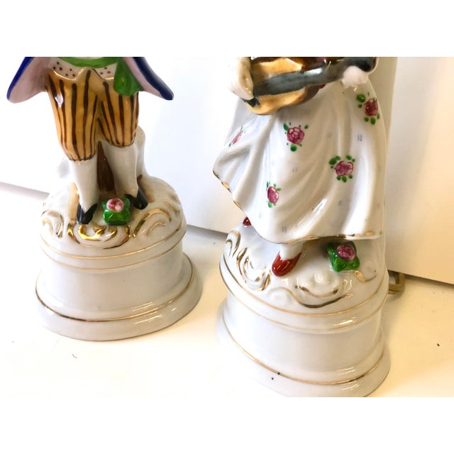 White Porcelain Lamps With Musician and Dancer Figurines - Set of 3 For Sale - Image 8 of 13