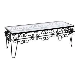Fleur-De-Lis Wrought Iron Glass Top Coffee Table For Sale