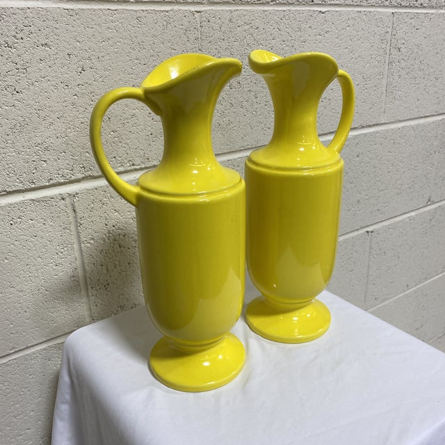 Mid-Century Modern Haeger Canary Yellow Ceramic Pitchers - a Pair For Sale - Image 3 of 10