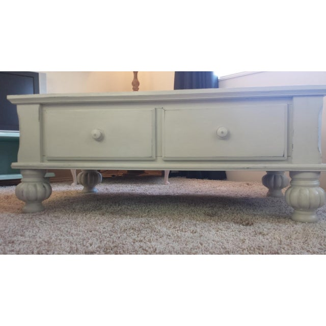 Gray Shabby Chic Coffee Table with Drawers - Image 2 of 7