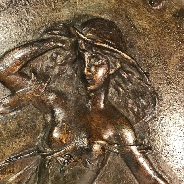 Gold Antique Gilded Bronze Plaque For Sale - Image 8 of 11