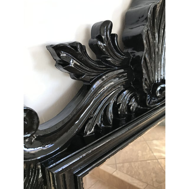 Coastal Regency Ornate Scalloped Shell Black Lacquered Mirror For Sale - Image 4 of 13
