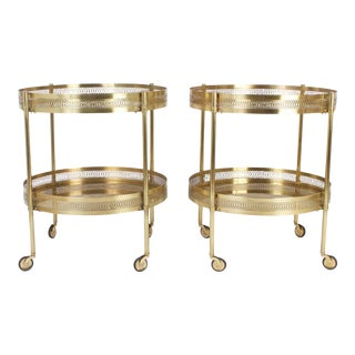 Chic Mid-Century Serving Carts or Tables - A Pair For Sale