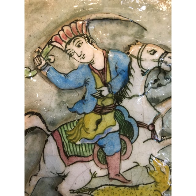 Islamic Vintage Late 19th Century Persian Ceramic Tile For Sale - Image 3 of 10