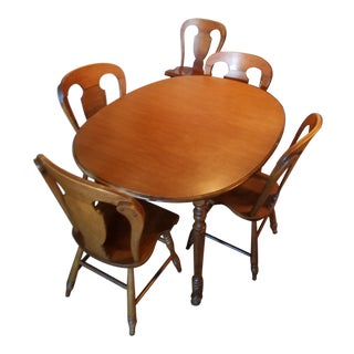 1970's Mid-Century Modern Solid Maple Dining Set - 6 Pieces For Sale