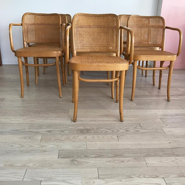"Mid-Century Josef Hoffmann ""Prague"" 811 Cane & Bentwood Armchairs - Set of 10 - Image 3 of 11"