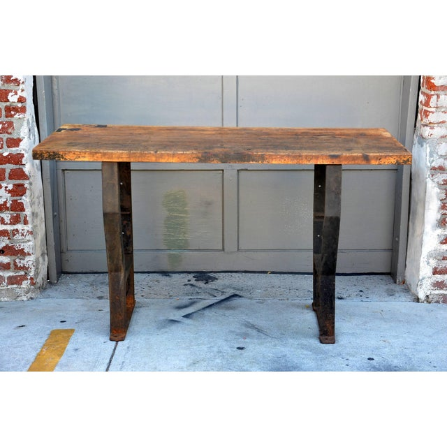 1920s Massive Patinated Industrial Console For Sale - Image 9 of 9