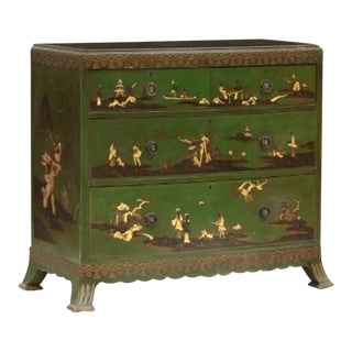 Chinoiserie Decorated Bow Front Chest of Drawers For Sale