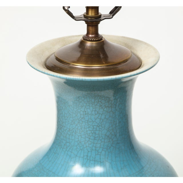 1980s Crackle Glazed Blue Vase Lamps - A Pair For Sale - Image 5 of 13