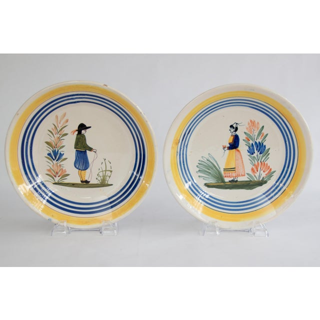 Antique French Quimper Plates - a Pair For Sale - Image 10 of 10