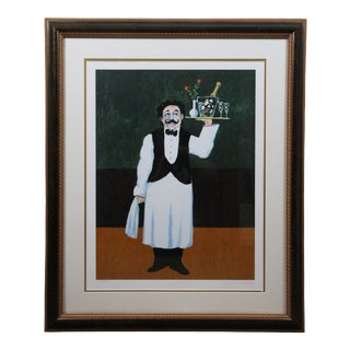 """Late 20th Century """"Waiter with Champagne"""" French Serigraph by Guy Buffet, Framed For Sale"""