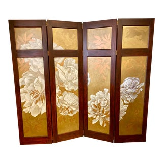 Hand Painted Gold and White Flower Folding Screen Room Divider For Sale