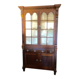 1930s American Classical Mahogany Corner Cabinet For Sale