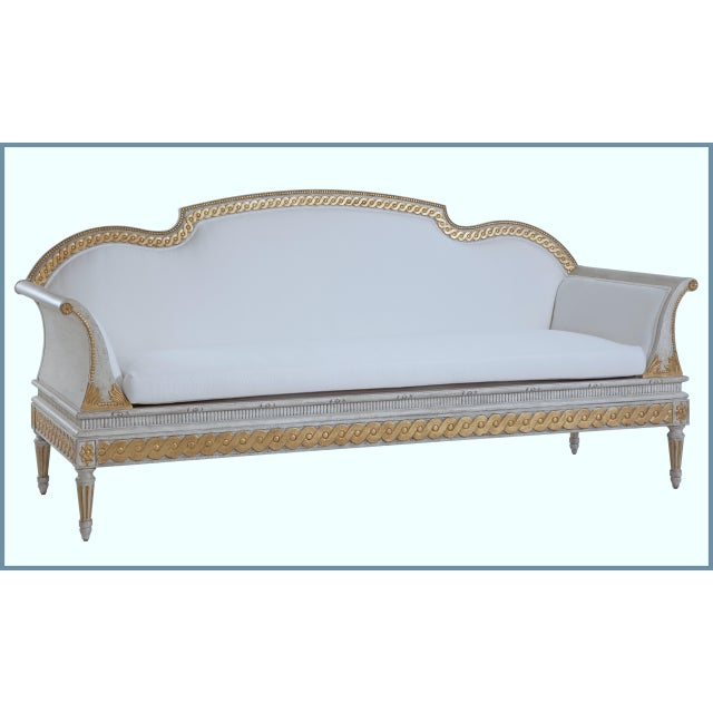 Swedish Gustavian Guilloche Carved Sofa, SC0041 Hand crafted. Entirely hand carved with running coin on seat rim and top...