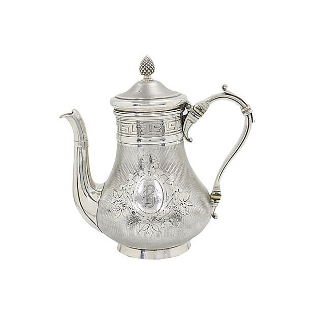 Cabin Antique French Christofle Silver-Plate Coffee Pot For Sale - Image 3 of 7