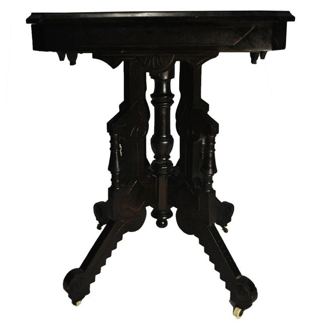 Exceptional Antique Eastlake Victorian Heavily Carved Walnut Parlor Side Table - Image 9 of 9