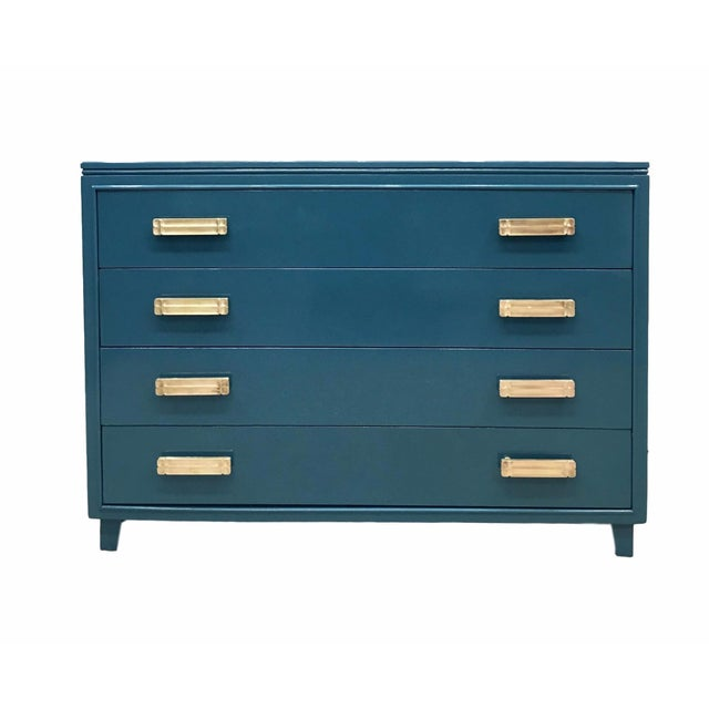 Lacquered Teal Brass Hardware Dresser - Image 1 of 7