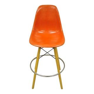Mid 20th Century Herman Miller Eames Orange Fiberglass Side Shell W Modernica Case Study Barstool For Sale