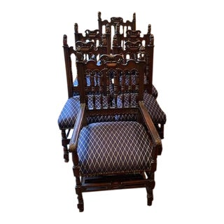 19th Century Gothic Revival Dining Chairs - Set of 6 For Sale
