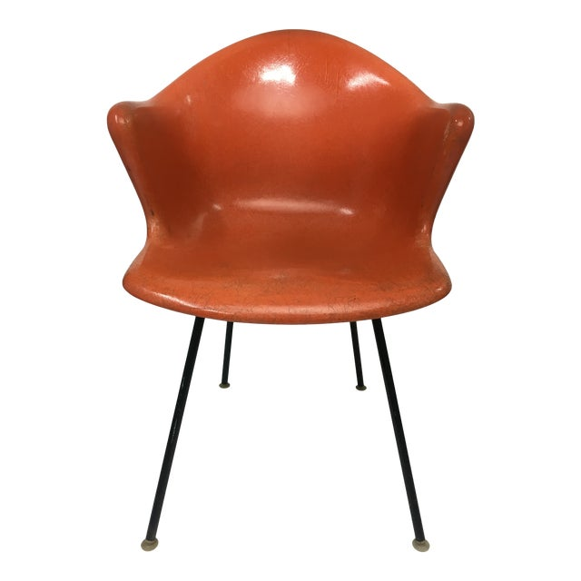 Mid-Century Modern Burnt Orange Shell Chair by Cole Steel For Sale