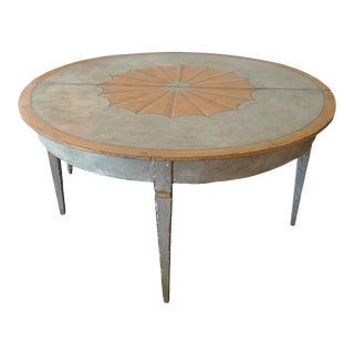 French 19th Century Painted Country Round Folding Dining Table and Demi-Lune. For Sale
