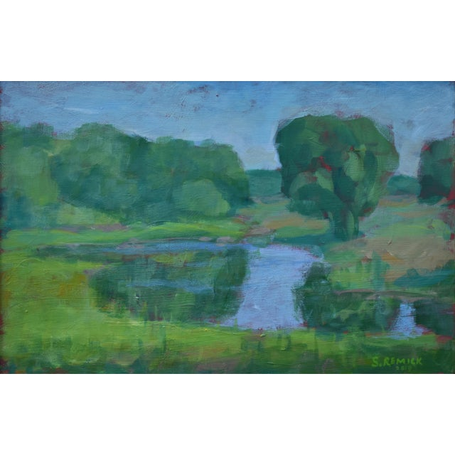 "Green Stephen Remick ""The Frog Pond"" Contemporary Plein Air Painting For Sale - Image 8 of 9"