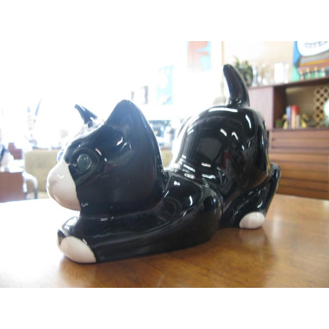 Mid-Century Modern Alcobaca Black & White Ceramic Kitty Cat For Sale - Image 3 of 10