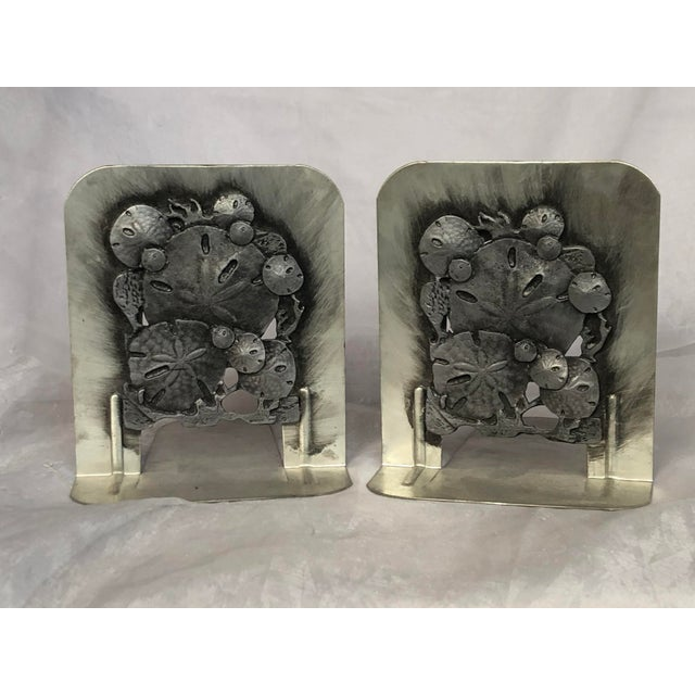 Vintage 1970s Metal Sand Dollar Bookends - a Pair For Sale In New York - Image 6 of 11