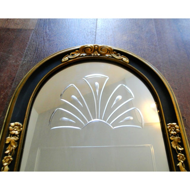 Vintage 1920's Etched Mirror With Gold Black Frame - Image 4 of 6