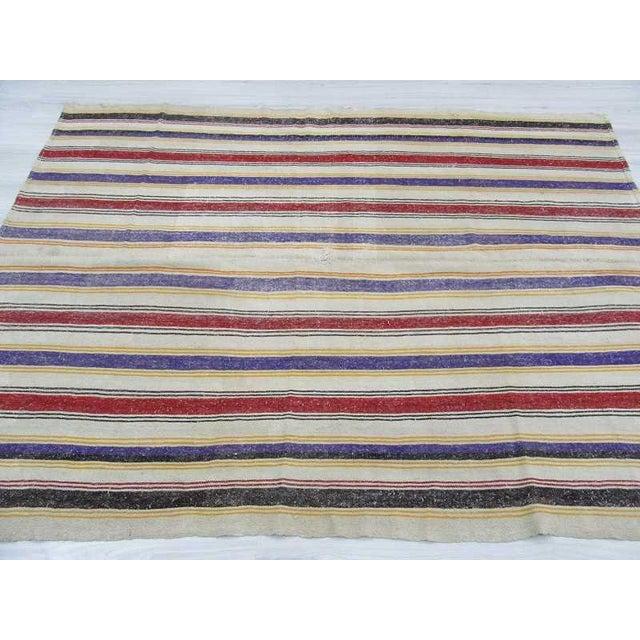 """Vintage Striped Turkish Kilim Rug - 6'2"""" x 8'2: For Sale - Image 4 of 6"""