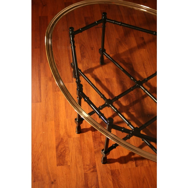 Chippendale Chippendale Baker Designs Glass and Brass Bamboo Coffee Table For Sale - Image 3 of 5