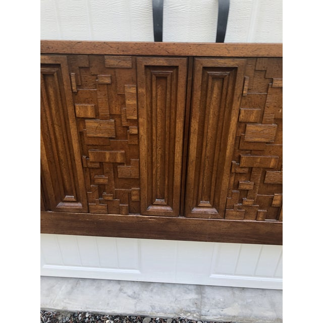 1970s Brutalist King Sized Headboard For Sale - Image 4 of 8