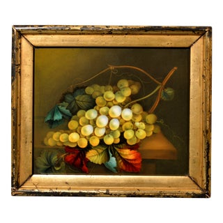 English Porcelain Still Life Plaque Depicting Green Grapes on a Tabletop, in the Manner of Thomas Steel, Circa 1830-40 For Sale