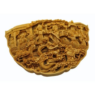 Quality Carved Bamboo Birdcage Base Panel With Eighteen Arhats (Lohan) and Dragon Preview